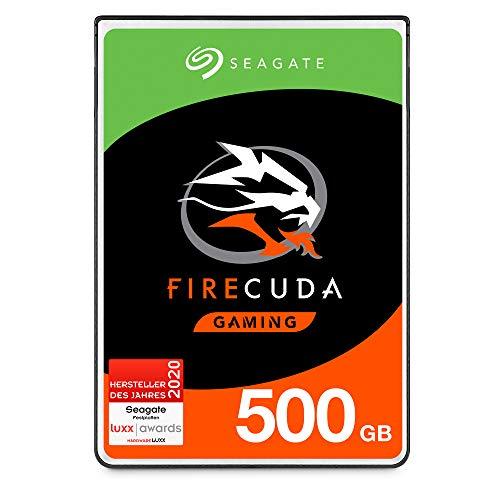 Seagate FireCuda Gaming, hybride interne Festplatte 500 GB SSHD, 2.5 Zoll, SATA 6 Gb/s, silber, FFP, Modellnr.: ST500LXZ25