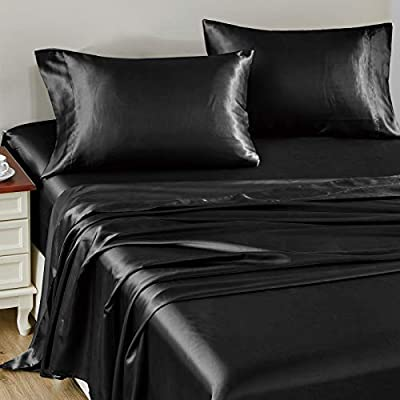 CozyLux Satin Sheets Full Size 4-Pieces Silky Sheets Microfiber Black Bed Sheet Set with 1 Deep Pocket Fitted Sheet, 1 Flat Sheet and 2 Pillowcases, Smooth and Soft