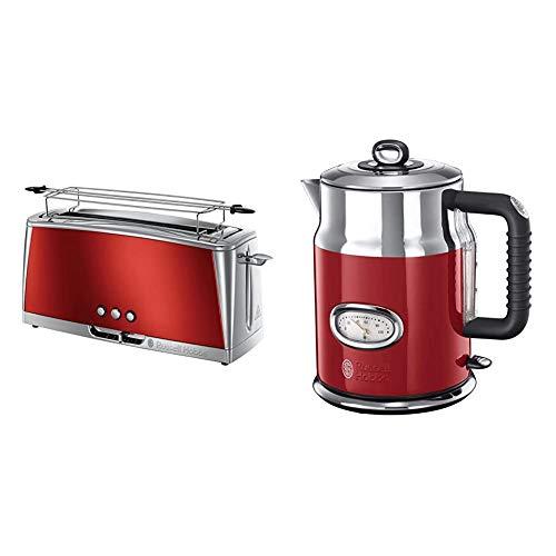 Russell Hobbs Langschlitz Toaster Luna rot, 1420W, 23250-56 & Wasserkocher, Retro rot, 1,7l, 2400W, Schnellkochfunktion, Wassertemperaturanzeige im Retrodesign, Füllmengenmarkierung