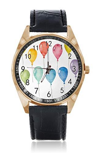 Choeter Happy Birthday Ballon Party Custom Personalisierte Herren Damen Armbanduhr Wasserdicht Edelstahl Quarz-Armbanduhr mit austauschbarem Lederband