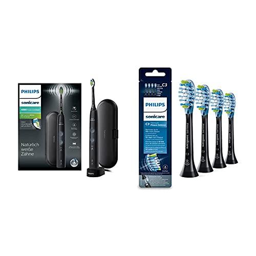 Philips Sonicare ProtectiveClean 4500 elektrische Zahnbürste HX6830/53 – Schallzahnbürste mit 2 Putzprogrammen – Schwarz & Original Aufsteckbürste Premium Plaque Defence HX9044/33, 4er Pack, Schwarz