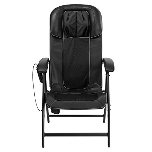 HoMedics Easy Lounge Shiatsu Massage Chair with Neck, Shoulder, 3 Back Zones, Leg Massage, Soothing Heat, Intensity Control, Programmed Controller, and Foldaway Storage, Black