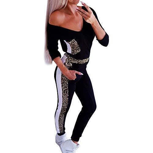 AmyGline Damen Traingsanzug Sportanzug,Frauen Sexy Leopard V-Ausschnitt Langarm T-Shirt+Hose Freizeitkleidung,Sportswear Set,Jogginganzug,Laufanzug,Pullover Sweatshirt Sets,Jogging Sport Anzug