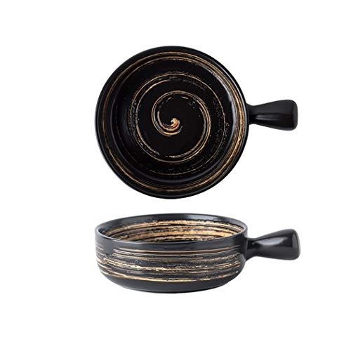 Verakee Backofen mit Griff 6 Zoll Keramik-Geschirr, Küche Restaurant Haushalt Geschirr Salaten Gemüse Desserts Getreide Suppen Reisnudeln (Color : Schwarz)