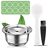 CAPMESSO Coffee Capsule, Reusable Vertuoline Pod Refillable Vertuo Capsules Stainless Steel Compatible with Nespresso Vertuoline GCA1 and Delonghi ENV135 (8OZ(Coffee Cup)+10 Silicone Rings)