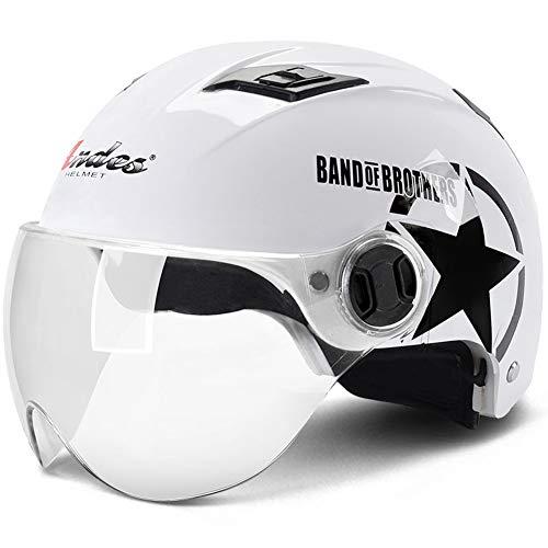 YHDQ Casco de la Motocicleta Bicicleta de los Hombres Damas Verano Delgada Media máscara Casco Protector Solar Personalidad (código Uniforme)