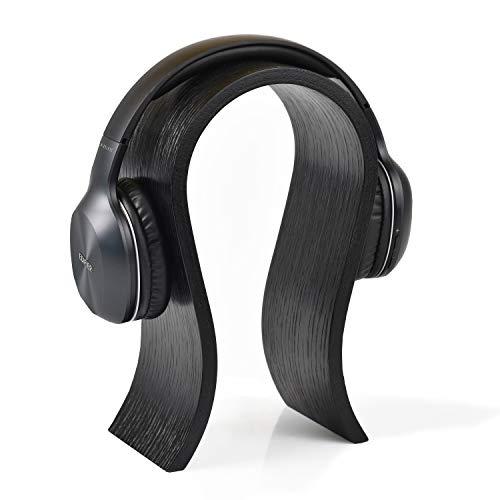 Soporte para auriculares de madera para organización de escritorio de oficina, minimalista elegante detalle interior en color roble natural, ideal como regalo para jugador, marido, amigo