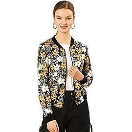 Allegra K Women's Stand Collar Zip Up Floral Prints Bomber Jacket