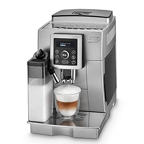De'Longhi ECAM 23.466.S Kaffeevollautomat mit Milchsystem, Cappuccino und Espresso auf Knopfdruck, Digitaldisplay mit Klartext, 2-Tassen-Funktion, Großer 1,8 Liter Wassertank, silber