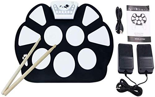 TOY Gtf Percussion E-Drum Set, Faltbar Roll Up Elektrische Drums Pads 9 Keys, No-Lautsprecher Und Batterie, Weihnachten Für Kinder, Anfänger Drummers Tischtrommel Kissen Mat