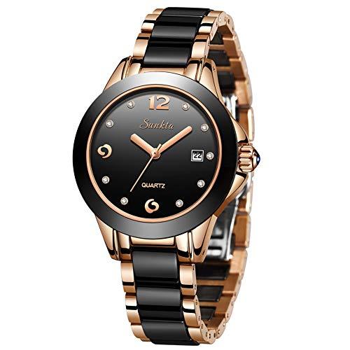 LIGE Relojes Mujeres Moda Casual Impermeable Acero Inoxidable Cuarzo Analógico Relojes Diamante Rhinestone Ceramica Negra Reloj de Pulsera