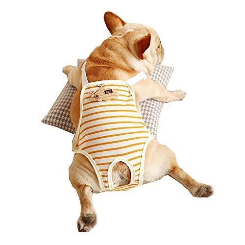 Smniao hondenluiers voor honden Teddy Bulldog Incontinentie hygiëneonderbroek strepen huisdier vrouwelijke luier beschermende broek ondergoed, Medium, geel