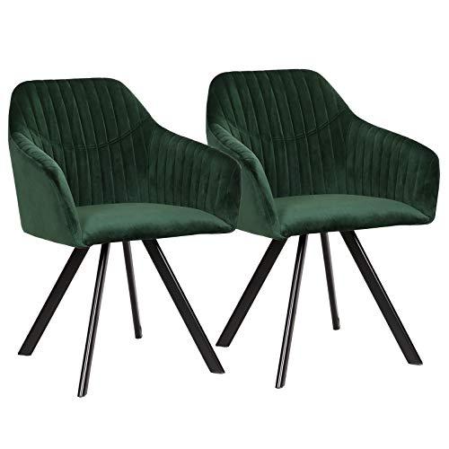 WOLTU Esszimmerstühle BH150gn-2 2er Set Küchenstühle Wohnzimmerstuhl Polsterstuhl Design Stuhl mit Armlehne Samt Gestell aus Stahl Grün