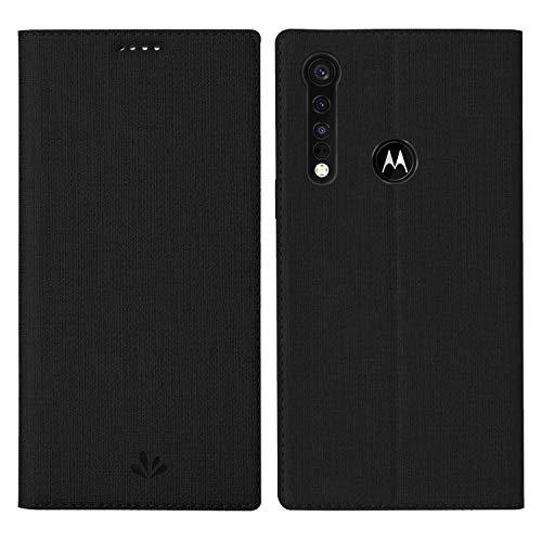 HATA Moto G8 Plus Lederhülle Handyhülle flip case mit Standfunktion Magnetverschluß Kartenfach Moto Motorola G8 Plus Schutzhülle Tasche (Moto G8 Plus, Black)