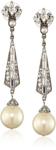 Ben-Amun Jewelry Swarovski Crystal and Glass Pearl Drop Earrings