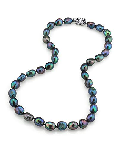 """THE PEARL SOURCE Sterling Silver 9-10mm AAA Quality Baroque Black Freshwater Cultured Pearl Necklace for Women in 20"""" Matinee Length"""