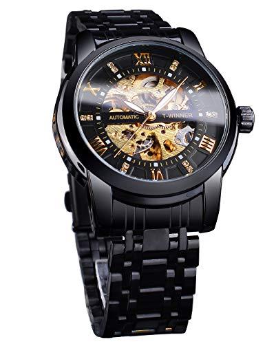 Reloj de pulsera Steampunk de lujo con diamantes mecánicos, negro, retro, números romanos y esqueleto, automático, resistente al agua, para hombres