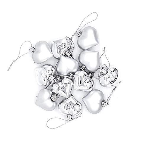 Yogogo Lot de 12Pcs Boules De NoëL Arbre De NoëL Glitter Boules De DéCorations Ornements Balle en Forme d'amour