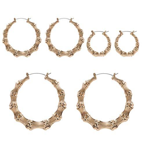 bobeini Pendientes de aro de círculo de bambú Grandes de Color Dorado/Plateado para Mujer Hip Hop Large Celebr Gold