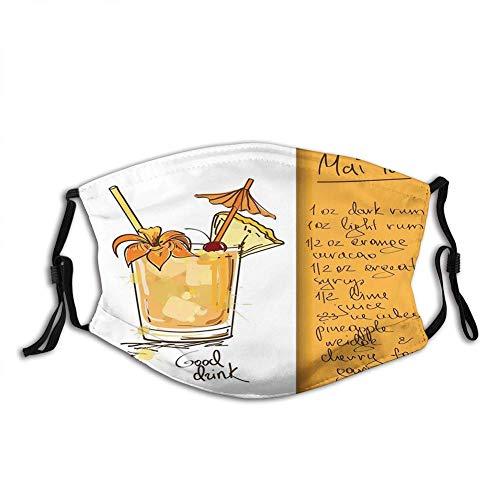 BDGAjdka Komfortable Aktivkohle-Tiki-Bar, handgezeichneter Mai Tai Cocktail im Glas und das Rezept Hawaiian Drink, Orange und Weiß, Gesichtsdekorationen im Freien