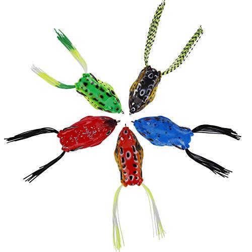 QIMEI-SHOP Frosch Köder Topwater Frosch Angelköder Weiche Froschköder Künstliches Angeln Frosch mit Doppelhaken für Barsch Schwarzer Fisch Hecht 5PCS