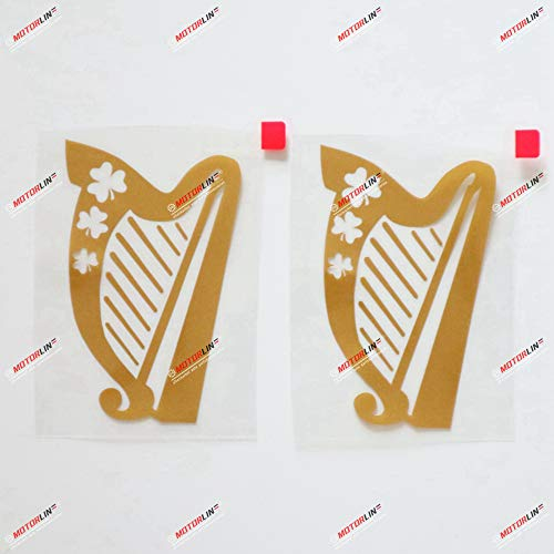 2X Gold 4'' Irish Celtic Harp Decal Sticker Ireland Shamrock Car Vinyl