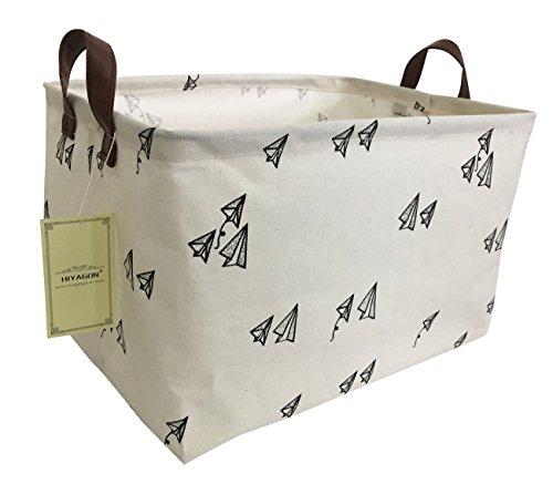 HIYAGON Rectangular Storage Box Basket for Baby, Kids or Pets - Fabric Collapsible Storage Bin for Organizing Toys,Nursery Basket,Clothing,Books, Gift Baskets (Paper Plane)