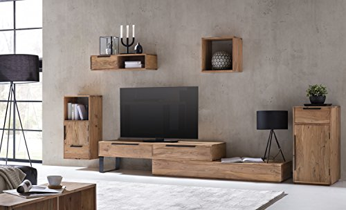 Woodkings® Wohnwand massiv Holz, 5teilig, Auckland, TV-Bank variabel erweiterbar, Kommode, Hängeregal, Wandboard, Würfel Wandregal, Schrankwand Wohnzimmer Möbel (Akazie, 2 Schub)