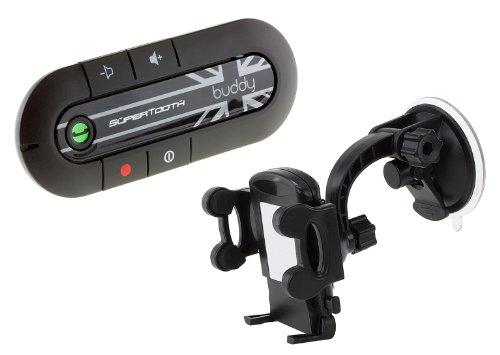 SuperTooth Buddy 2.1 Bluetooth Visier KFZ-Freisprecheinrichtung für Sonnenblende mit Handyhalterung - Union Jack