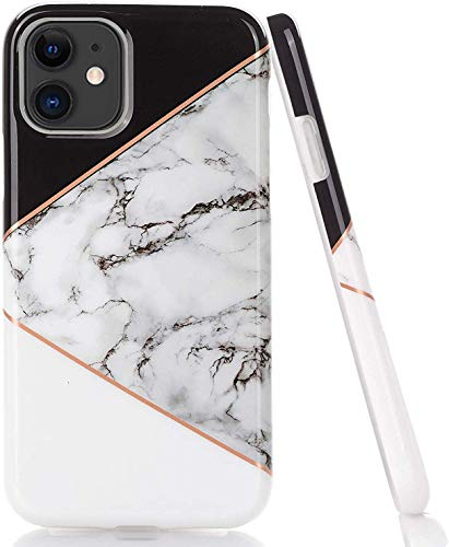LUOLNH Compatible with iPhone 11 Case,iPhone 11 Marble Case,Shockproof Flexible Soft Silicone Rubber TPU Bumper Cover Skin Case for iPhone 11 6.1 inch 2019 -Geometric Black