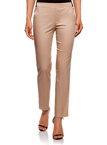 oodji Ultra Mujer Pantalones Recortados con Cintura Elástica, Beige, ES 40 / M