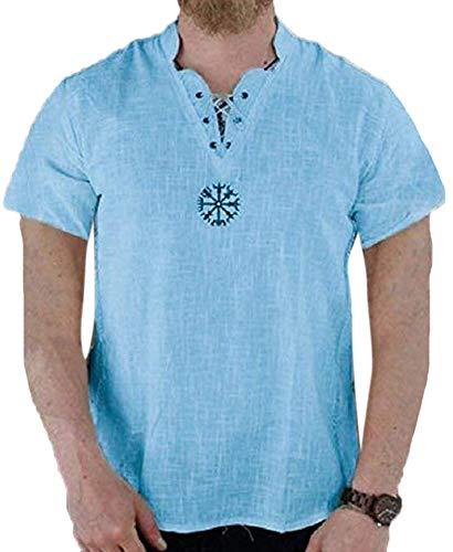 Heren katoen Renaissance Grandad Shirt Tops middeleeuwse V-hals tuniek kostuum Viking Hippie Shirt