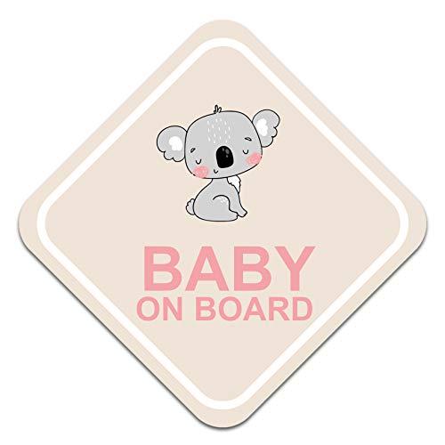 Pegatina para coche con diseño de bebé sobre borde, 10 x 10 cm, autoadhesiva, resistente a la intemperie, R127 (n.º 4 Koala)