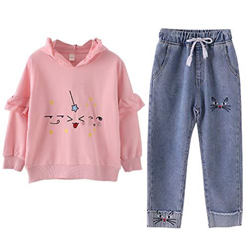 SXSHUN Kids Sweatshirt Long Sleeve Pure Color Casual Style Girls Sweatshirt with Simple Loose Girls Jeans 2pcs Set Kids Girls Sweatsuit Set for 3-13 Years Old