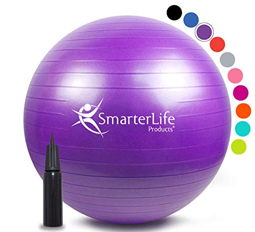 Exercise Ball for Yoga, Balance, Stability from SmarterLife - Fitness, Pilates, Birthing, Therapy, Office Ball Chair, Classroom Flexible Seating - Anti Burst, Non Slip + Workout Guide (Purple, 75cm)