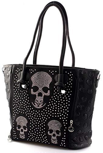 Damen Handtasche Totenkopf Skull Bone Trapez Gothic Punk Damentasche Schultertasche Brillenoptik groß Strass Optik