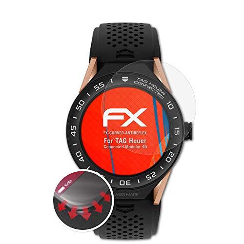 atFoliX Schutzfolie kompatibel mit Tag Heuer Connected Modular 45 Folie, entspiegelnde & Flexible FX Bildschirmschutzfolie (3X)