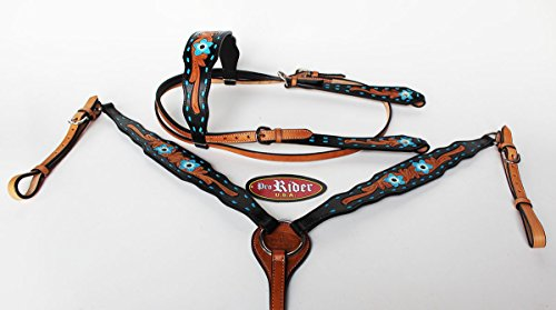 PRORIDER Horse Tack Bridle Western Leather Headstall Breast Collar Turquoise 80173B