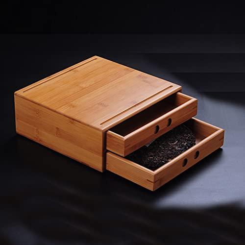 Bandeja de té de bambú, caja de té Pu'er, caja de almacenamiento de té multicapa, bandeja de té de bambú, accesorios para la ceremonia del té, gabinete de almacenamiento de té tipo cajón para el hogar