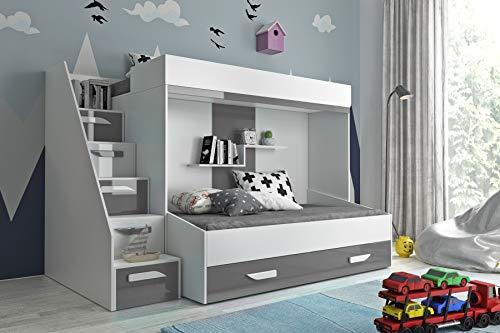 Etagenbett für Kinder PARTY 16 Stockbett mit Treppe und Bettkasten KRYSPOL (Weiß + Grau Glanz)