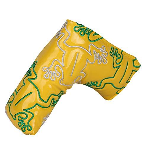 ゴルフヘッドカバー パターカバー カエル刺繍 エナメル革 ピンタイプ対応 黒・白・シルバー・イエロー・ ピンク・オレンジ (イエロー)