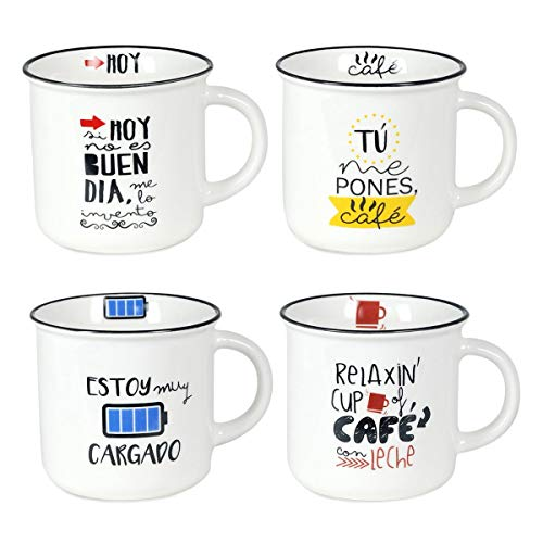 Decor And Go Mug Con Frase Diseño Sigris Incluye 4 Unidades Cocina Mugs Y Vasos Colección Te