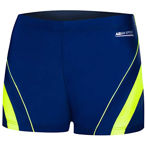 Aqua Speed Herren Boxer Badehose + gratis eBook   Enge UV Schwimmhose   Kurze Badepants   Sport Badebekleidung   Dennis, Gr. XL, 01 Navy Green