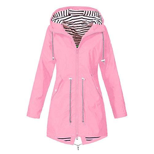 Regenmantel Damen Winterjacke Wintermantel Outdoor Plus Solide Wasserdichter Kapuzenjacke Regenjacke für Damen Outdoorjacken Wasserdichter Regenmantel mit Kapuze Windproof Outwear (XL,2- Rosa)