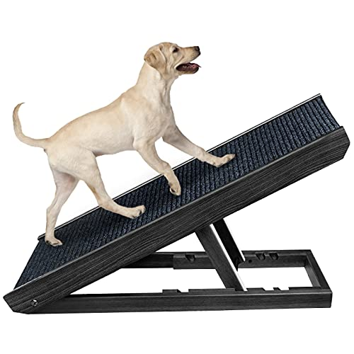 Senneny Wooden Adjustable Pet Ramp - Folding Portable Dog & Cat Ramp Perfect for Bed, Couch and Car - Non Slip Carpet Surface Height Adjustable Ramp...