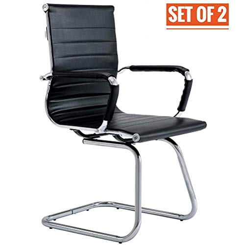 CoVibrant Modern Office Chair Without Wheels Waiting Room Chairs with Arms for Reception Desk Conference Area, Set of 2