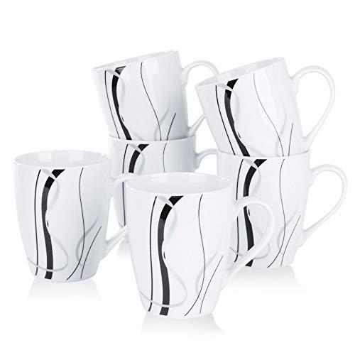 VEWEET Porzellan Kaffeebecher 'Fiona' 6-teilig Set | Füllmenge 350 ml, Höhe 10,2 cm | Ergänzung zum Tafelservice 'Fiona' | Kaffeetassen Teetassen für 6 Personen