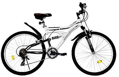 T&Y Trade 26 Zoll Kinder Mädchen Herren Damen MTB Mountainbike Kinderfahrrad Mädchenfahrrad Fahrrad Rad Bike Vollgefedert Fully 21 Gang 4300 Weiss SCHWARZ