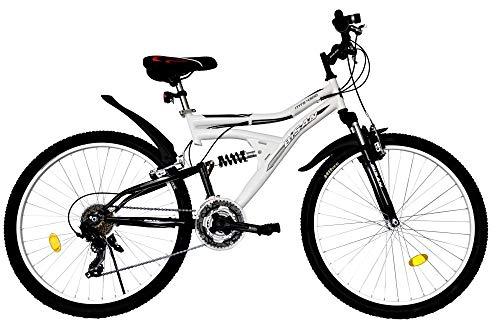 T&Y Trade 26 Zoll Kinder Mädchen Herren Damen MTB Mountainbike Kinderfahrrad Mädchenfahrrad Fahrrad Rad Bike Vollgefedert Fully 21 Gang Beleuchtung STVO 4300 Weiss SCHWARZ