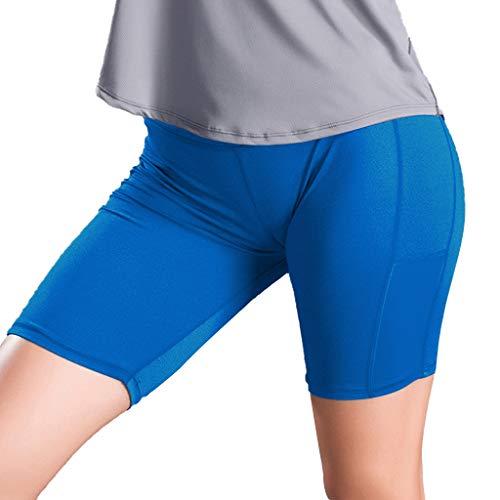 Stretch 1/3 Yogahose Damen Seitentaschen Nähen Stretchy Strumpfhose Fitness Laufen Sportshorts GreatestPAK,M (Taille:64-76cm),Blau